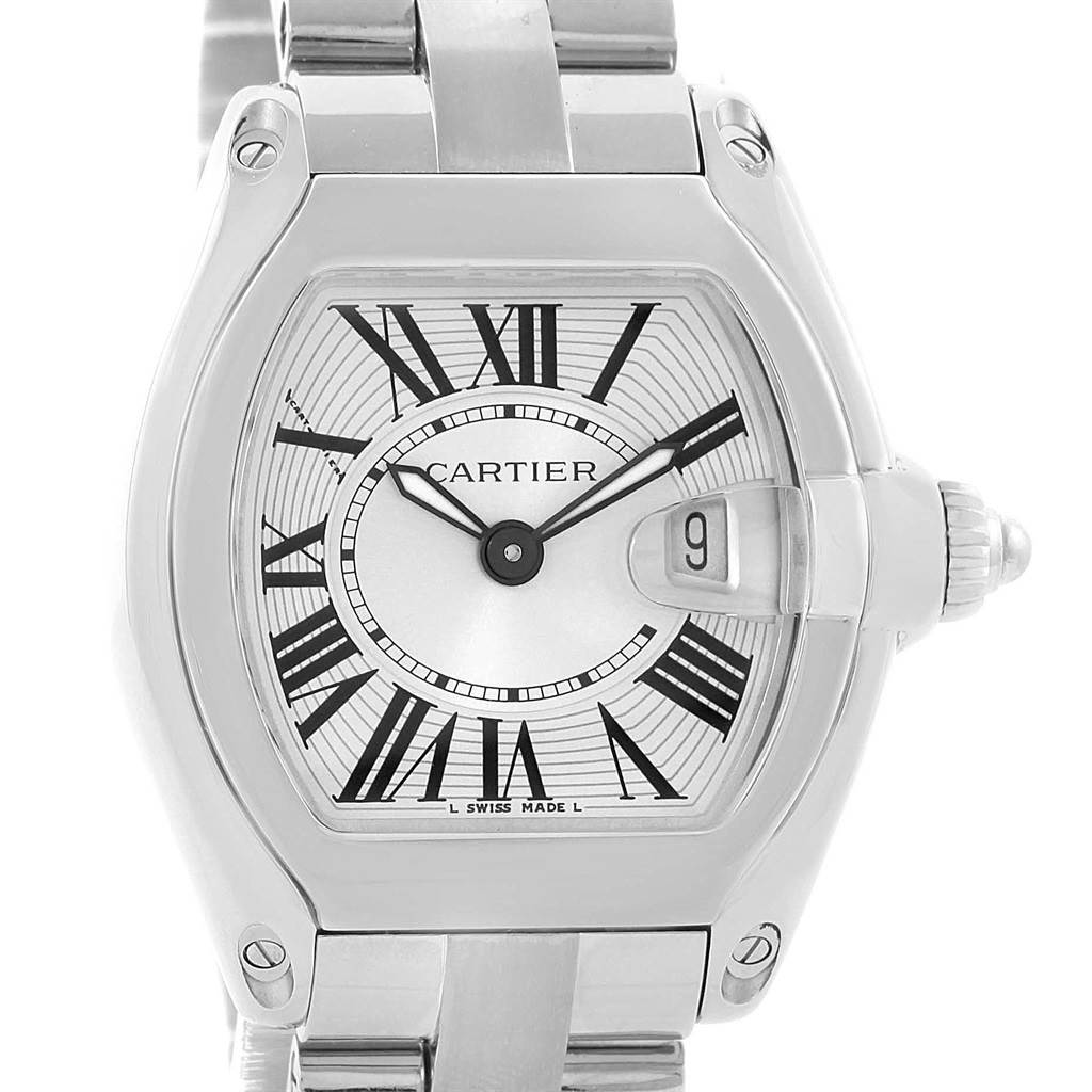 14653S Cartier Roadster Silver Dial Steel Quartz Womens Watch W62016V3 SwissWatchExpo