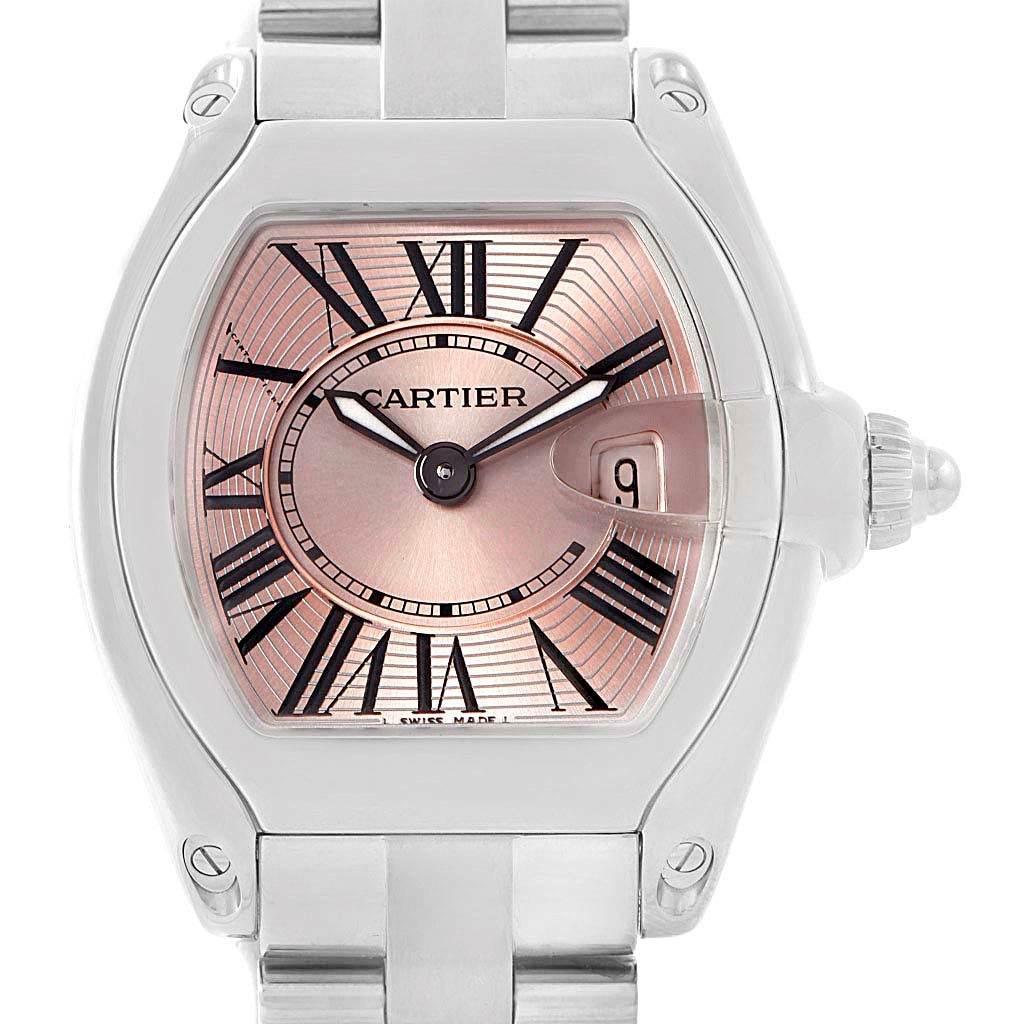 14664S Cartier Roadster Pink Dial Ladies Small Women Watch W62017V3 SwissWatchExpo