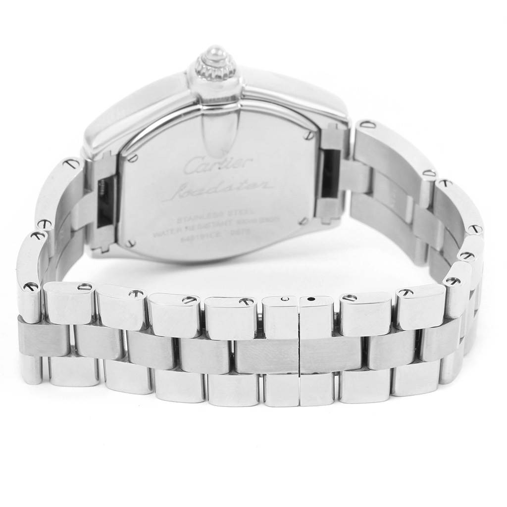 14744 Cartier Roadster Silver Dial Steel Womens Watch W62016V3 Box Papers SwissWatchExpo