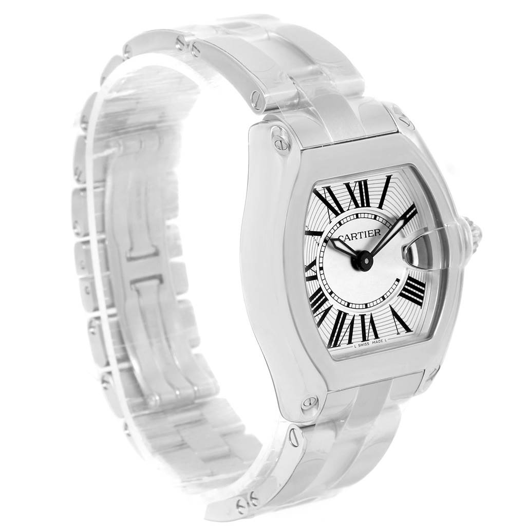 12279 Cartier Roadster Silver Dial Black Strap Ladies Steel Watch W62016V3 SwissWatchExpo