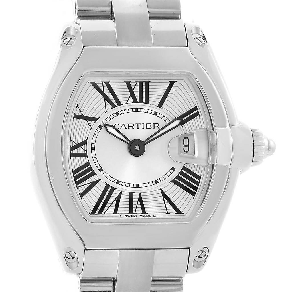 14111 Cartier Roadster Small Silver Dial Steel Ladies Watch W62016V3 SwissWatchExpo