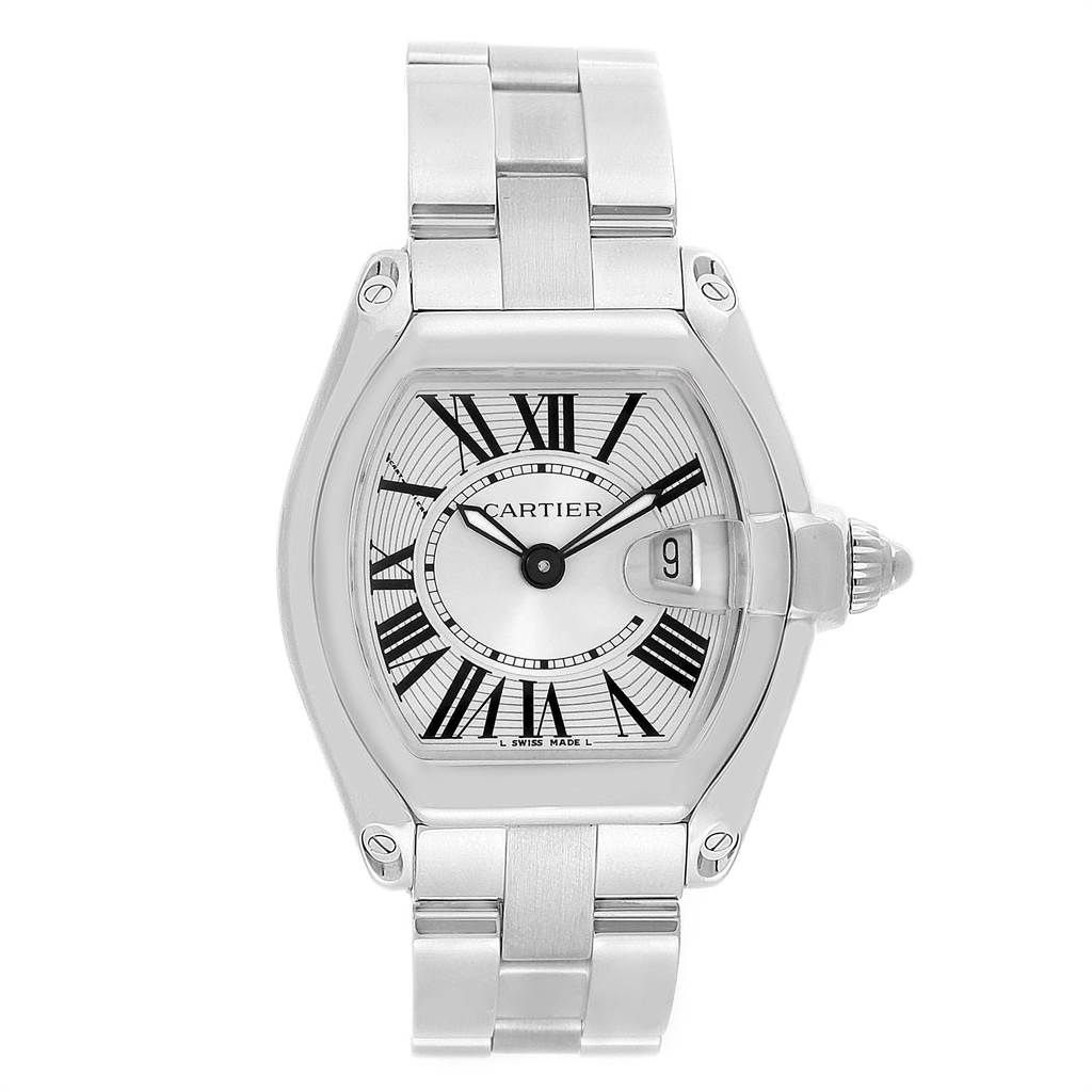 Cartier Roadster Small Silver Dial Steel Womens Watch W62016V3 SwissWatchExpo