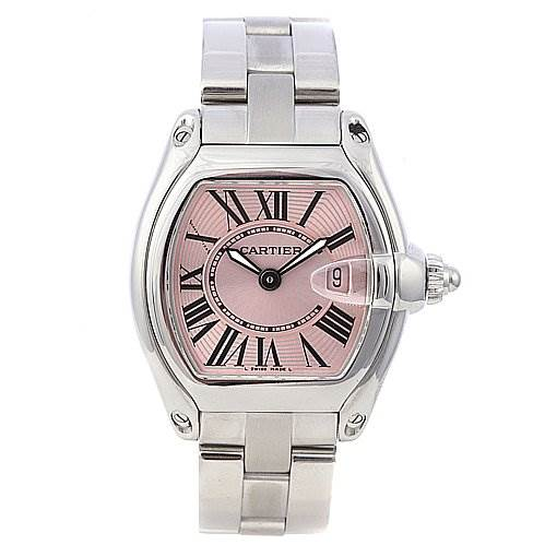 2262 Cartier Roadster Ladies Pink Dial W62017v3 Two Straps SwissWatchExpo