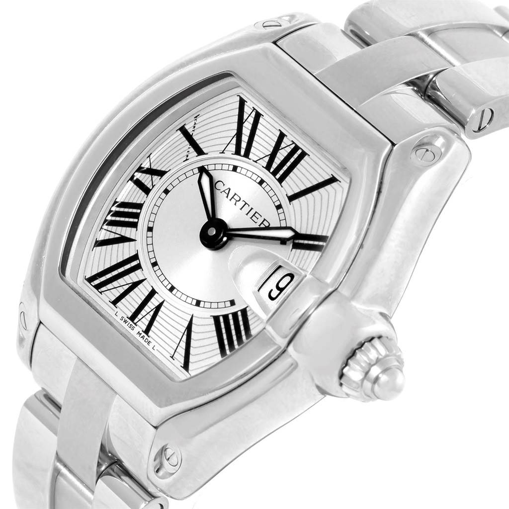 18485 Cartier Roadster Silver Dial Steel Ladies Watch W62016V3 Box Papers SwissWatchExpo