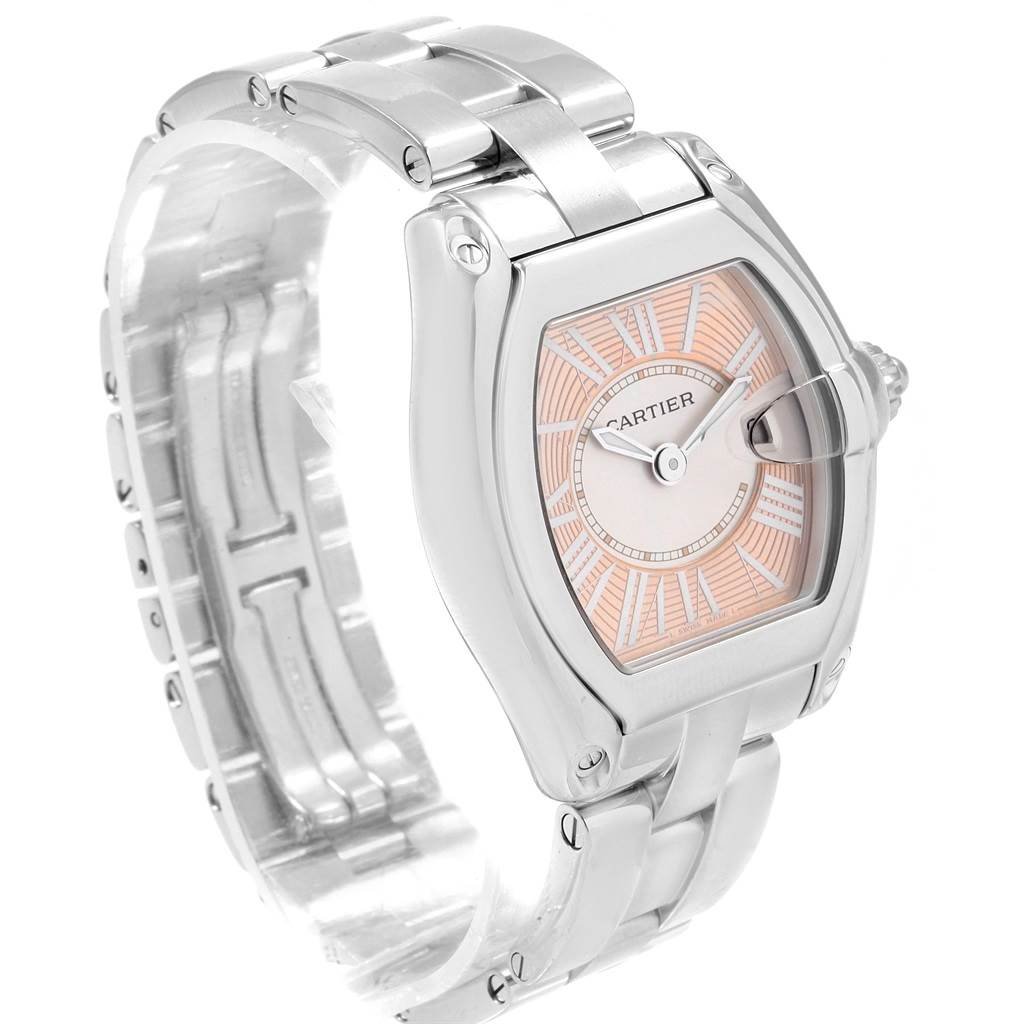 18033 Cartier Roadster Coral Dial Limited Edition Steel Ladies Watch W62054V3 SwissWatchExpo