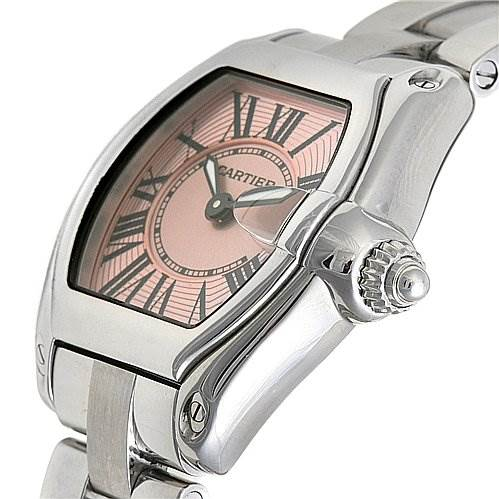 2372 Cartier Roadster Ladies Pink Dial W62017v3 Extra Strap SwissWatchExpo