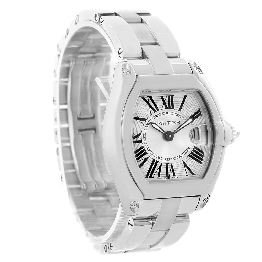 14659 Cartier Roadster Silver Dial Roman Numerals Steel Ladies Watch W62016V3 SwissWatchExpo