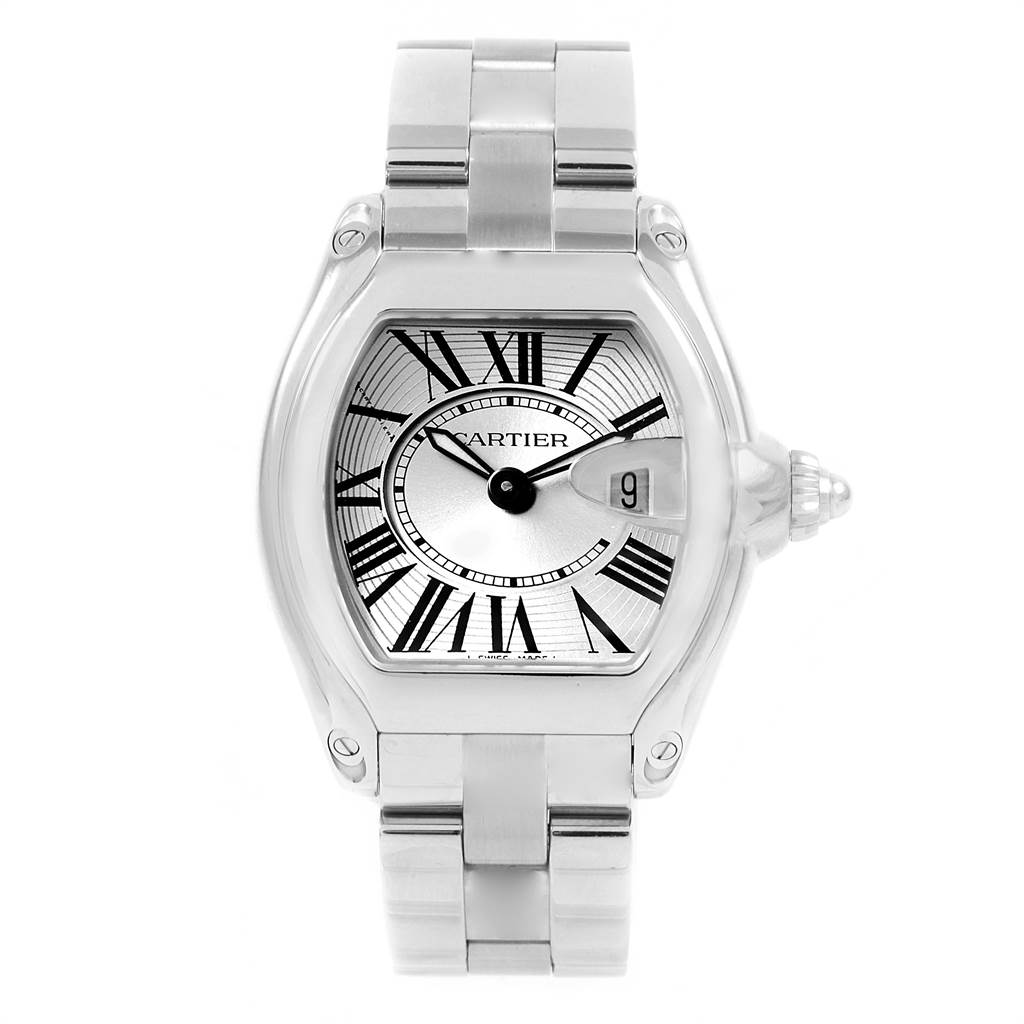 21345 Cartier Roadster Silver Dial Stainless Steel Ladies Watch W62016V3 SwissWatchExpo