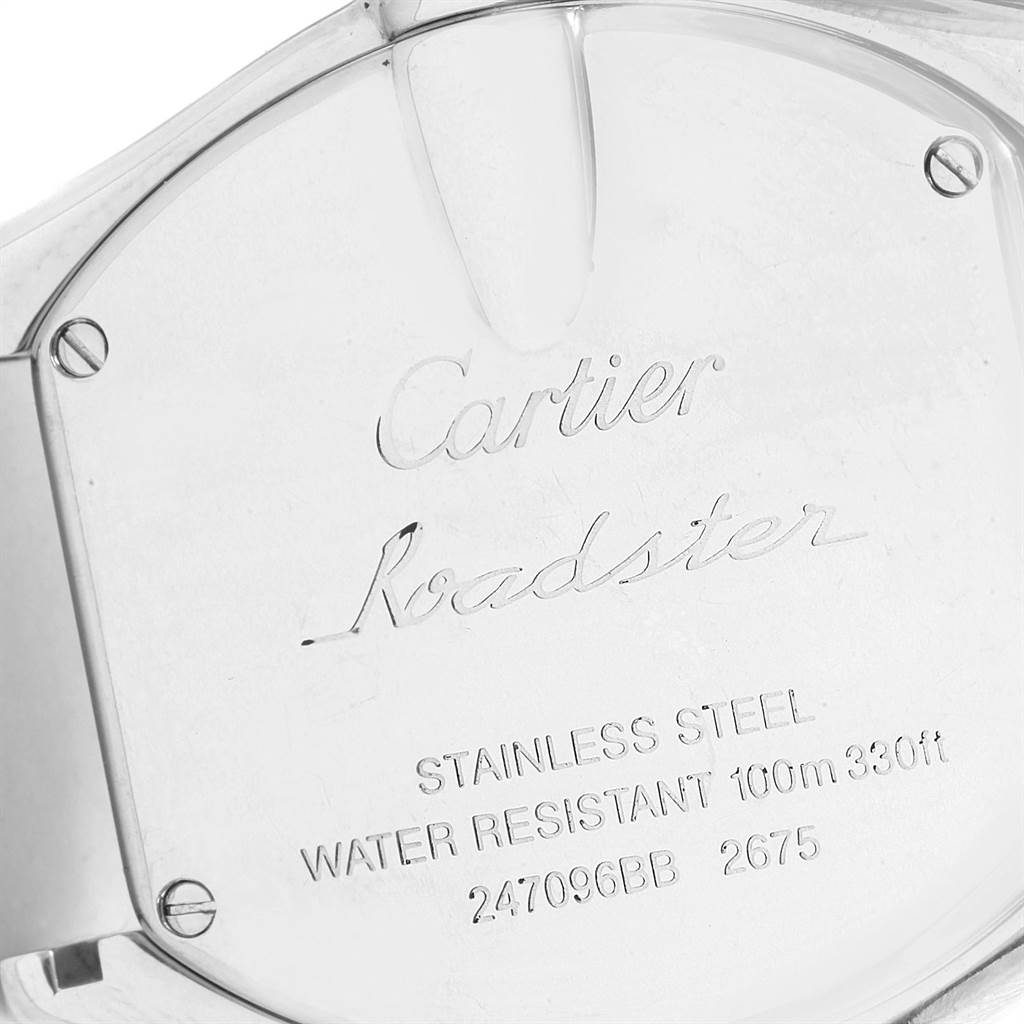 3745X Cartier Roadster Silver Dial Steel Ladies Watch W62016V3 Box Papers SwissWatchExpo