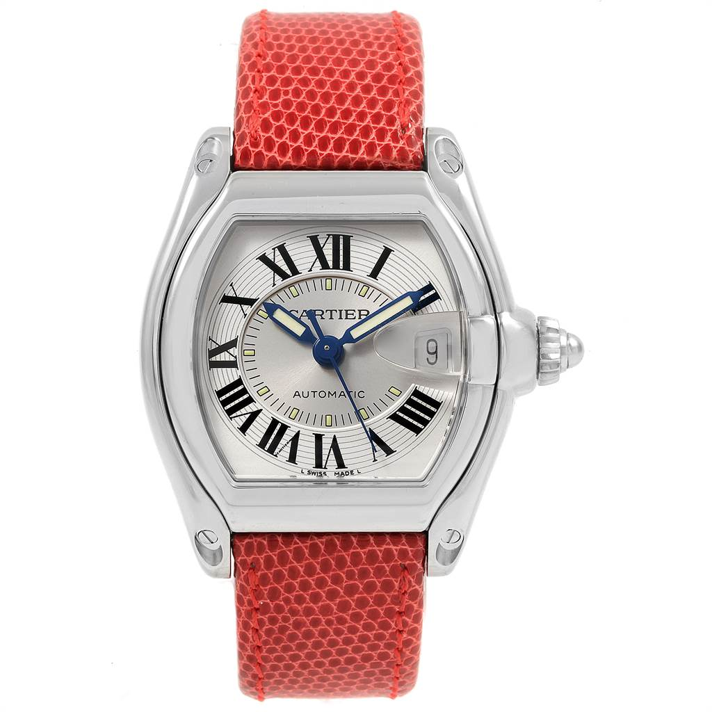 21548 Cartier Roadster Mens Steel Red Strap Large Watch W62000V3 SwissWatchExpo
