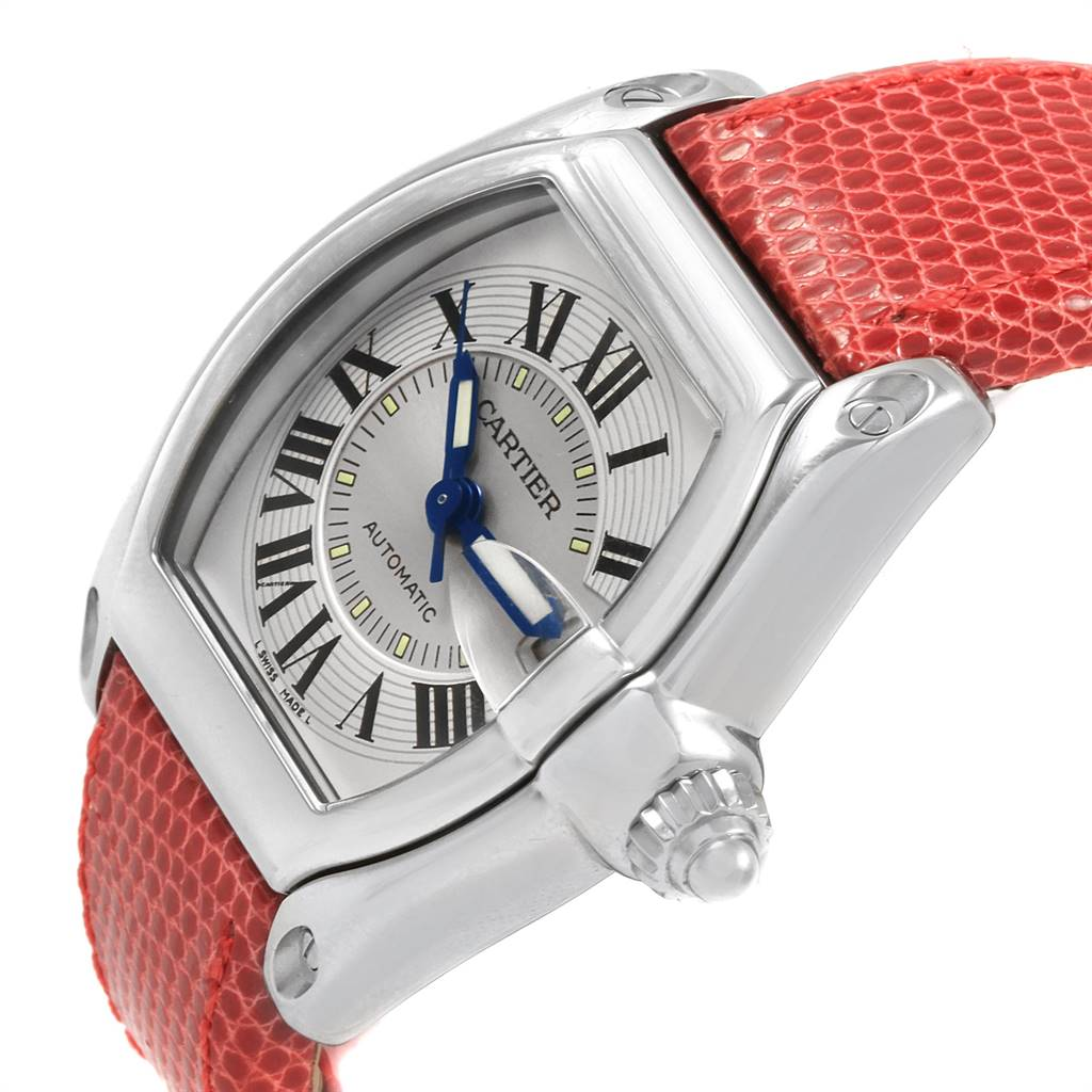 Cartier Roadster Mens Steel Red Strap Large Watch W62000V3 SwissWatchExpo