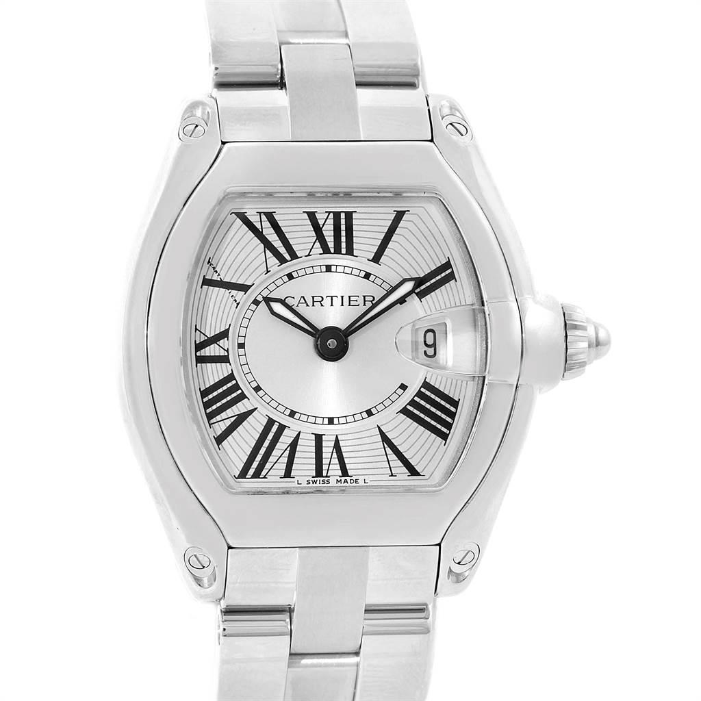 14657 Cartier Roadster Silver Dial Roman Numerals Steel Ladies Watch W62016V3 SwissWatchExpo
