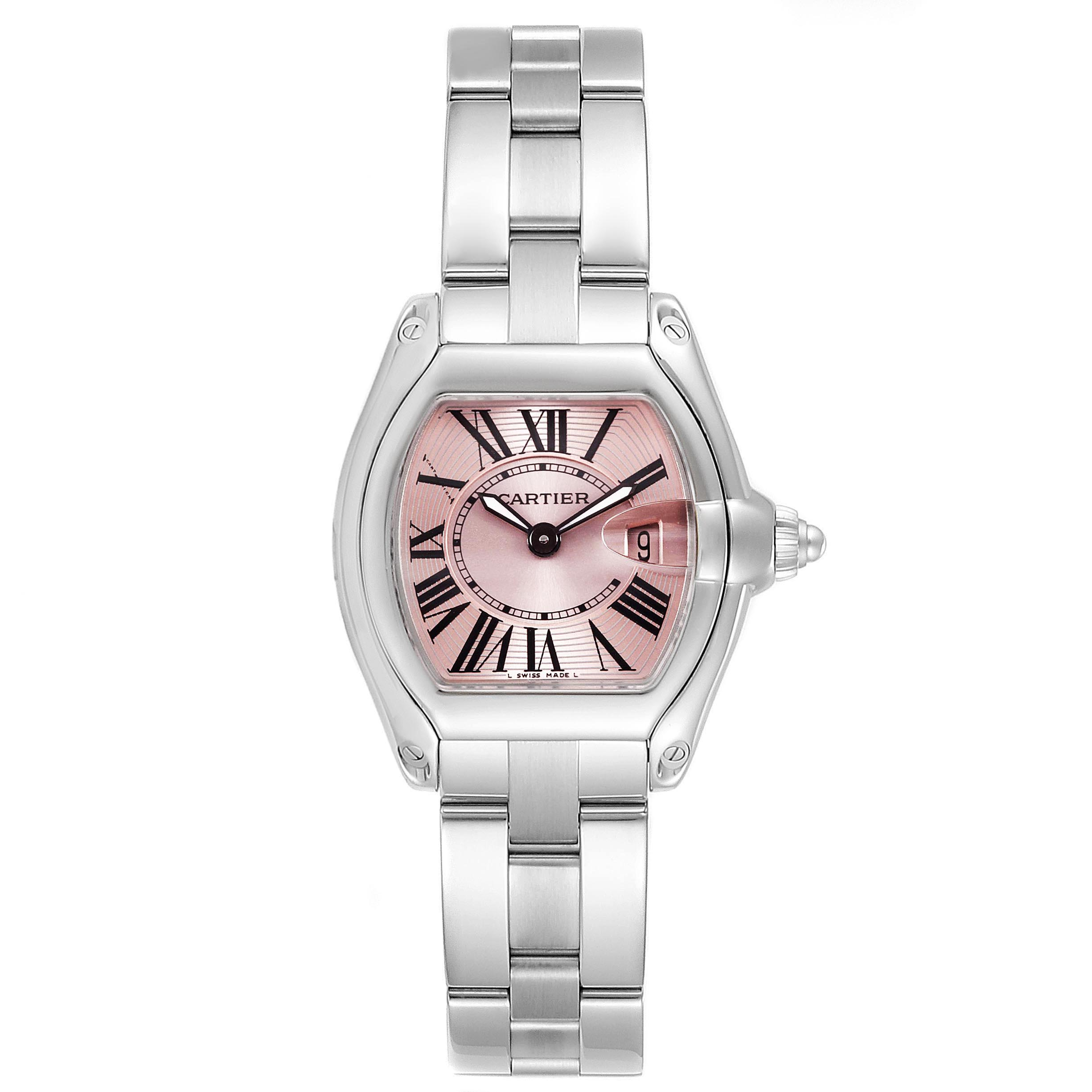 Cartier Roadster Pink Dial Stainless Steel Ladies Watch W62017V3 SwissWatchExpo