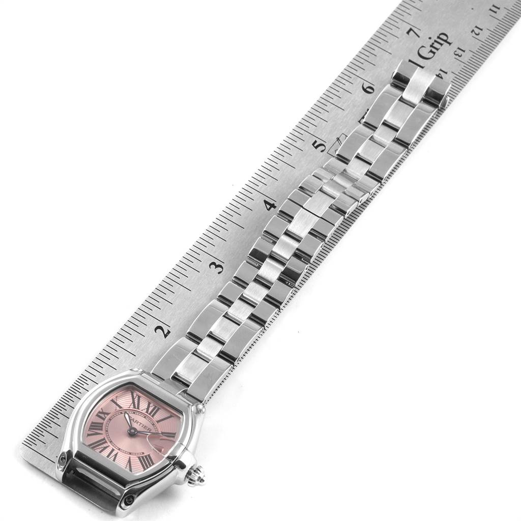 22284 Cartier Roadster Pink Dial Stainless Steel Ladies Watch W62017V3 SwissWatchExpo