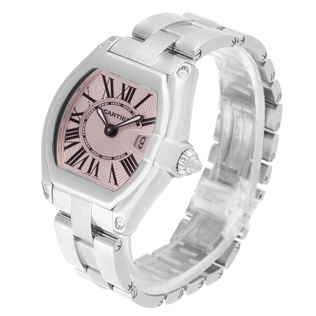 22283 Cartier Roadster Pink Dial Stainless Steel Ladies Watch W62017V3 SwissWatchExpo