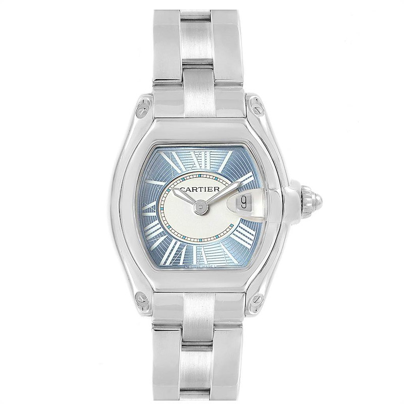 Cartier Roadster Blue and White Dial Steel Ladies Watch W62053V3 SwissWatchExpo