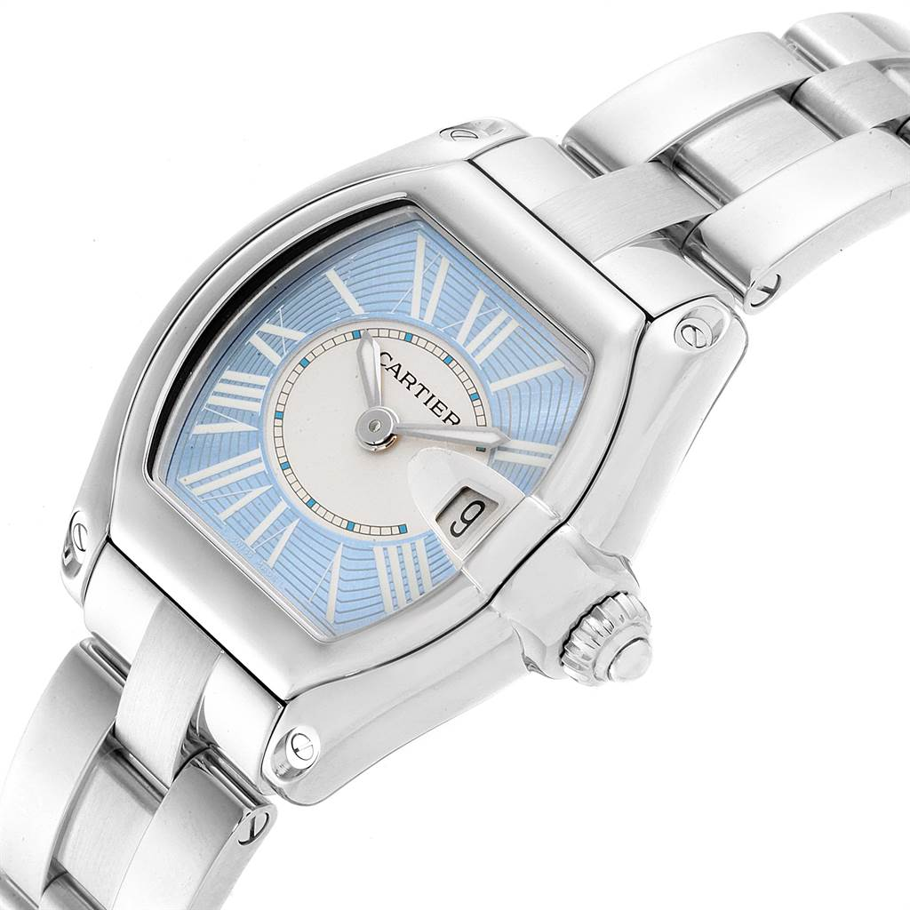 22877 Cartier Roadster Blue and White Dial Steel Ladies Watch W62053V3 SwissWatchExpo