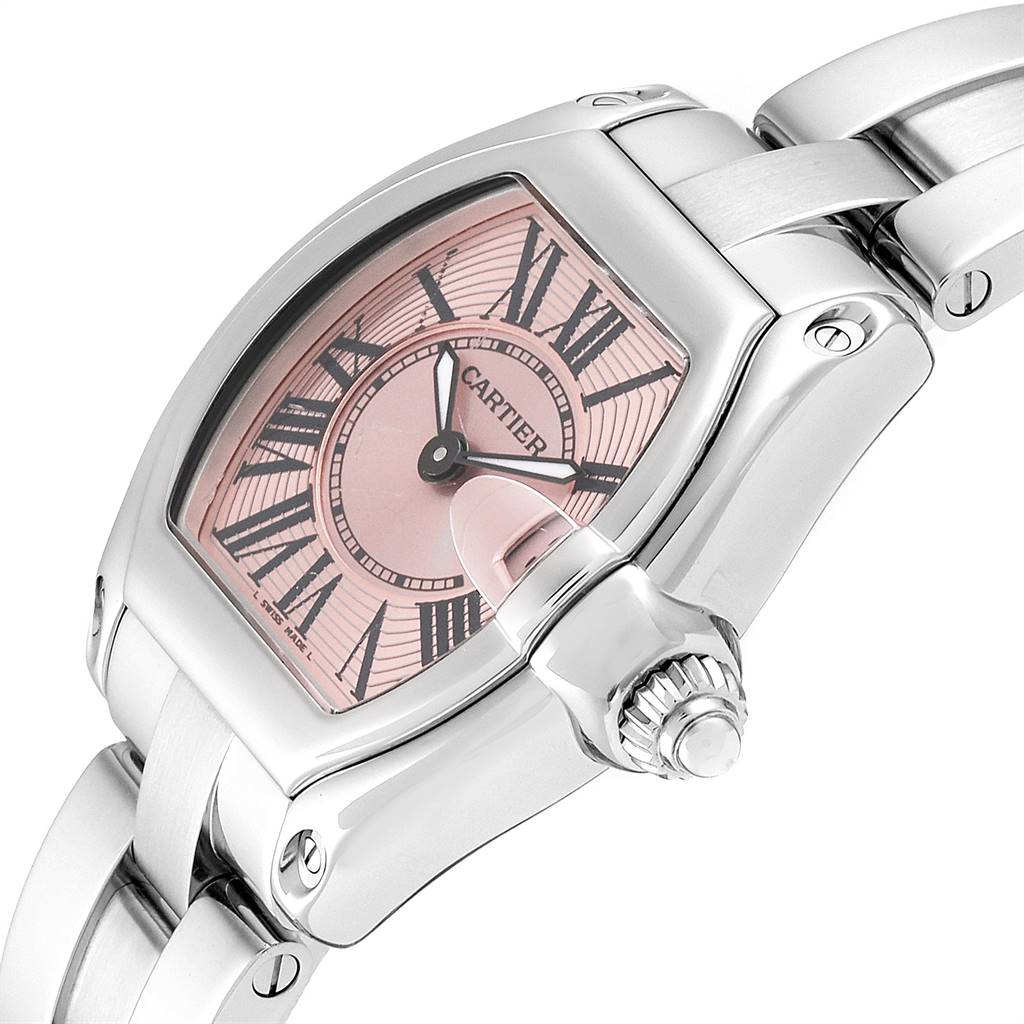 23884 Cartier Roadster Pink Dial Stainless Steel Ladies Watch W62017V3 SwissWatchExpo