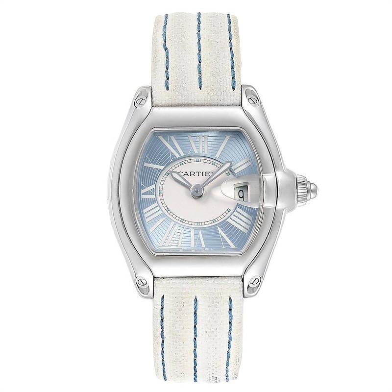 Cartier Roadster Blue Dial White Strap Steel Ladies Watch W62053V3 SwissWatchExpo