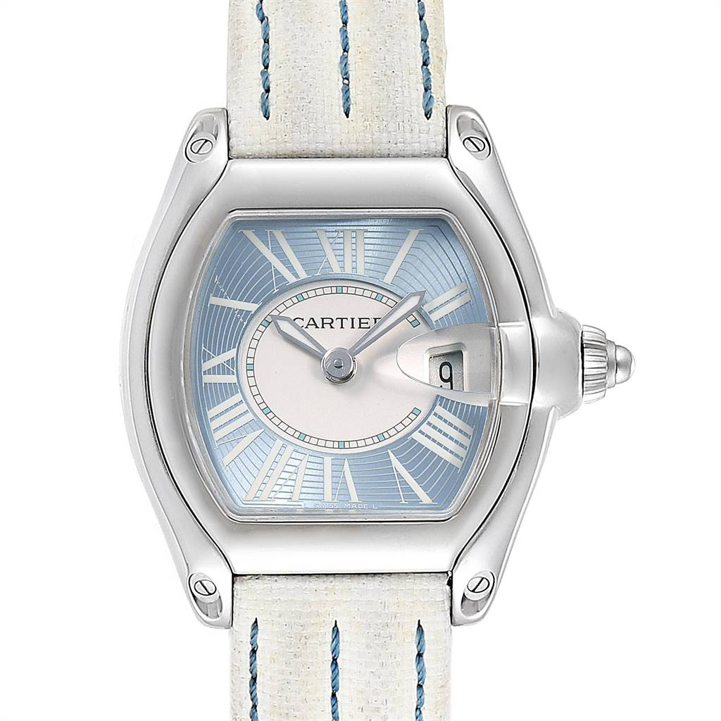 Cartier Roadster Blue Dial White Strap Steel Ladies Watch W62053V3 SwissWatchExpo