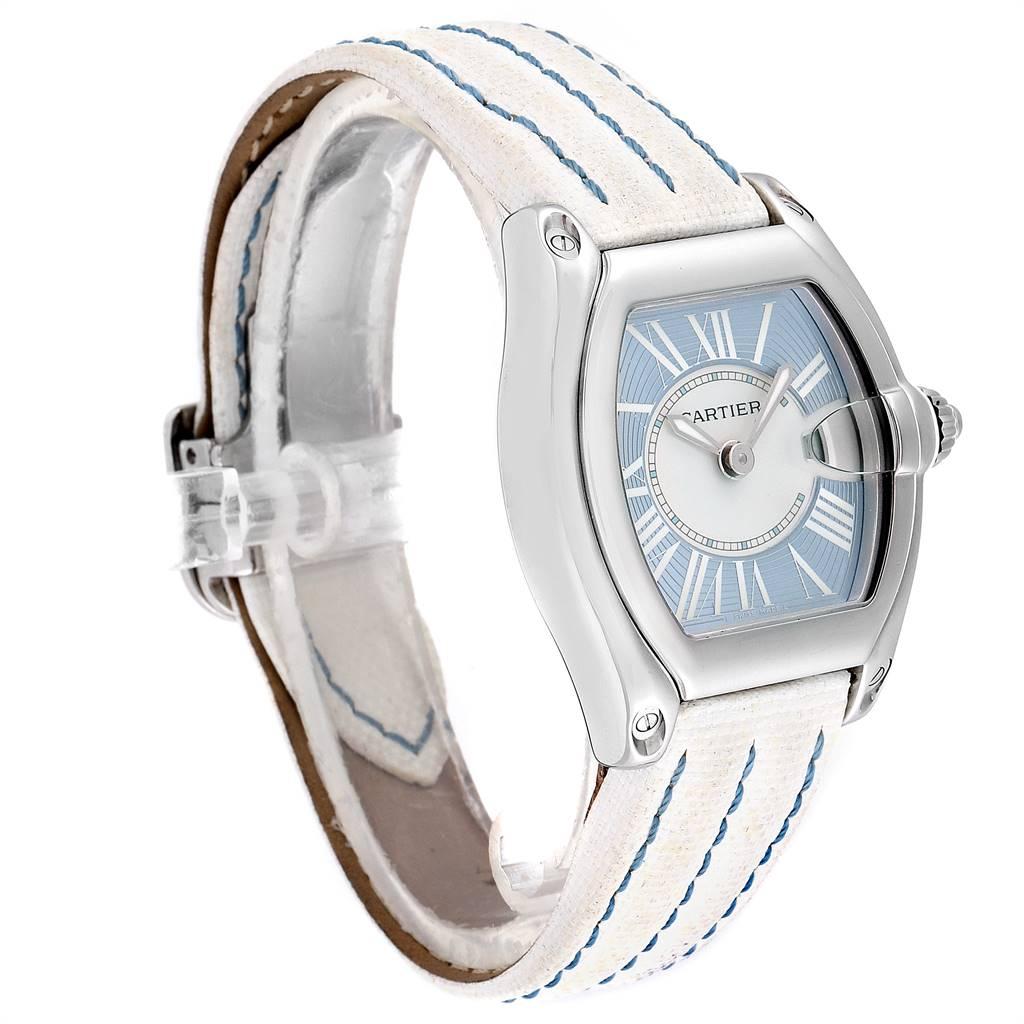 24842 Cartier Roadster Blue Dial White Strap Steel Ladies Watch W62053V3 SwissWatchExpo