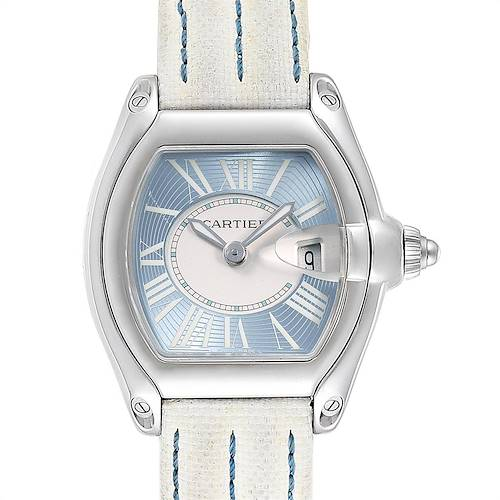 Photo of Cartier Roadster Blue Dial White Strap Steel Ladies Watch W62053V3