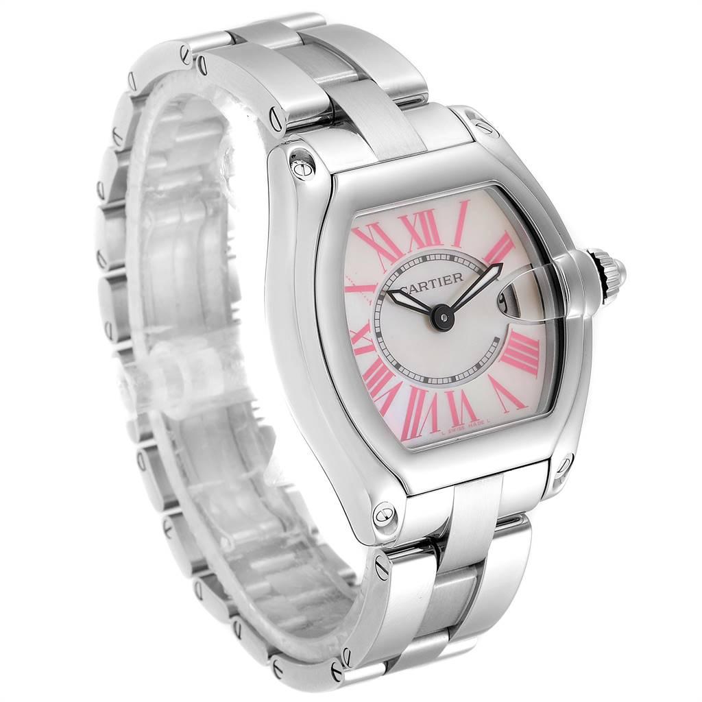 25003 Cartier Roadster Mother of Pearl Dial Steel Ladies Watch W6206006 SwissWatchExpo