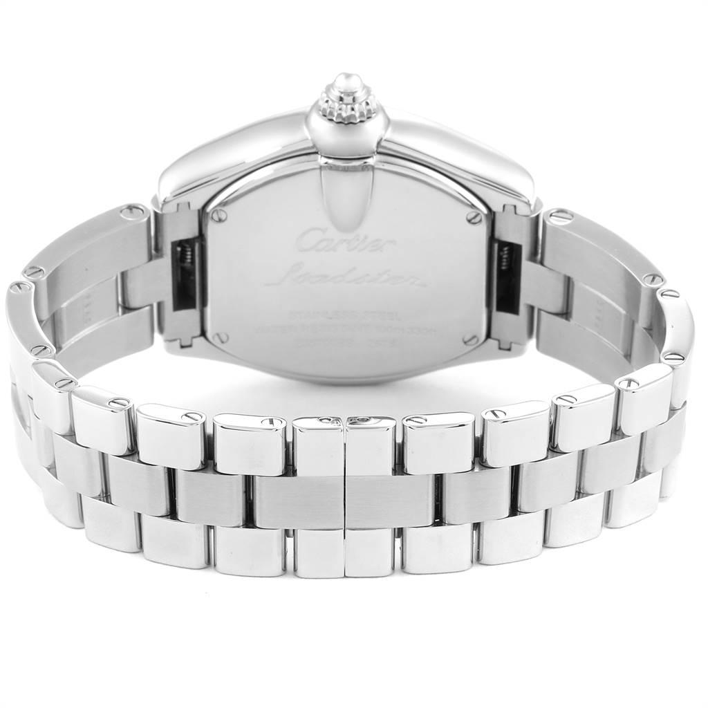 25012 Cartier Roadster Silver Dial Roman Numerals Steel Ladies Watch W62016V3 SwissWatchExpo