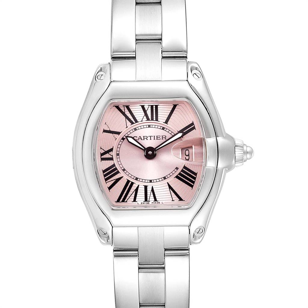 Cartier Roadster Pink Dial Stainless Steel Ladies Watch W62017V3