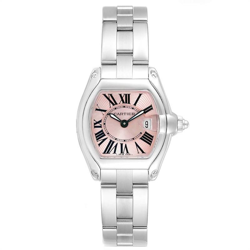 Cartier Roadster Pink Dial Small Model Steel Ladies Watch W62017V3 SwissWatchExpo