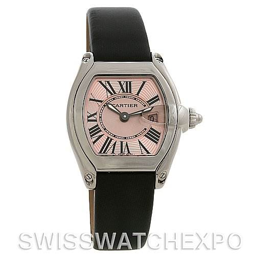 2658 Cartier  Roadster Ladies Pink Dial W62017V3 Extra Strap SwissWatchExpo