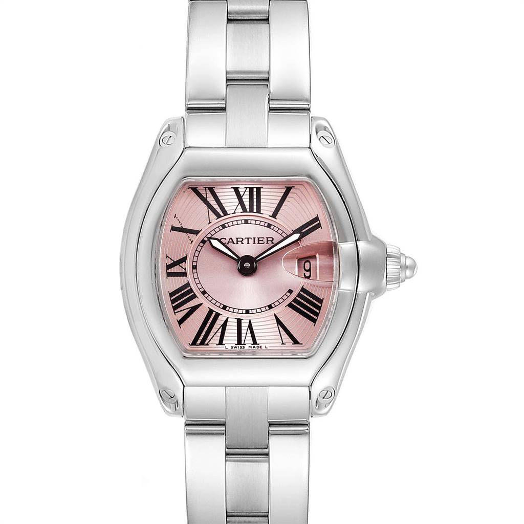 Cartier Roadster Pink Dial Small Model Steel Ladies Watch W62017V3