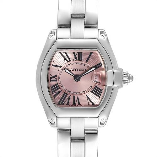 Photo of Cartier Roadster Pink Dial Small Model Steel Ladies Watch W62017V3