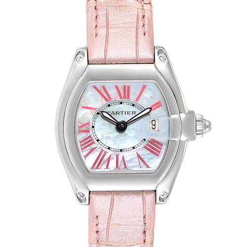 Photo of Cartier Roadster MOP Dial Pink Roman Numerals Limited Watch W6206006