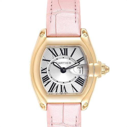 Photo of Cartier Roadster Yellow Gold Pink Strap Ladies Watch W62018Y5 Box Papers