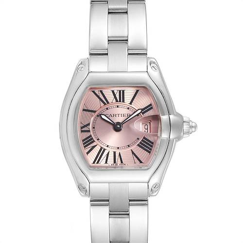 Photo of Cartier Roadster Pink Dial and Strap Steel Ladies Watch W62017V3