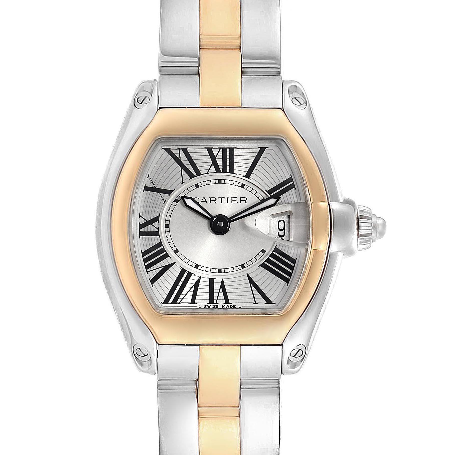 Cartier Roadster Steel 18K Yellow Gold Ladies Watch W62026Y4