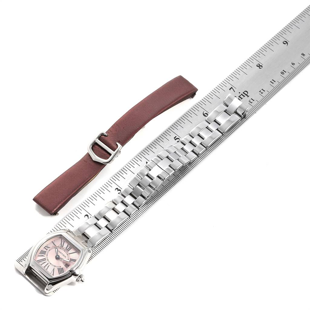 Cartier Roadster Pink Dial Steel Ladies Watch W62017V3 Box Papers Strap SwissWatchExpo