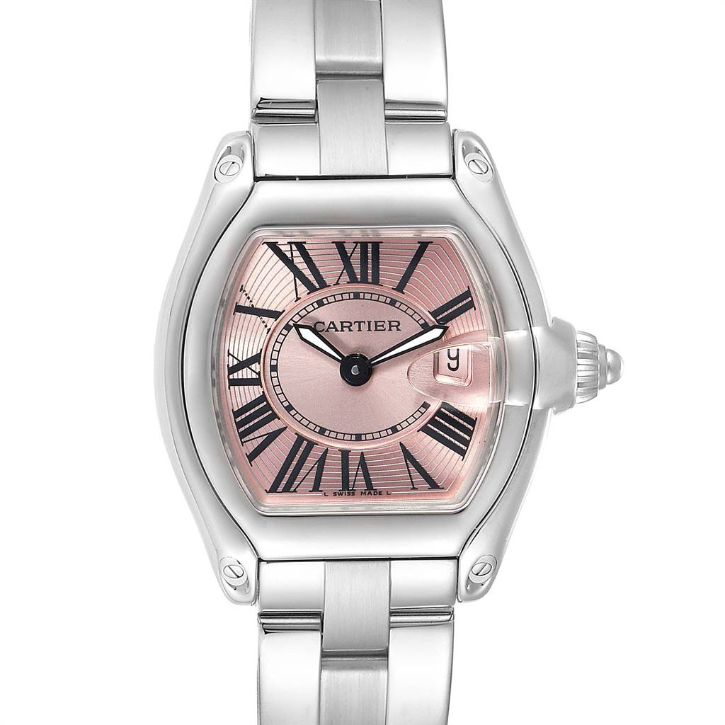 Cartier Roadster Pink Dial Steel Ladies Watch W62017V3 Box Papers Strap