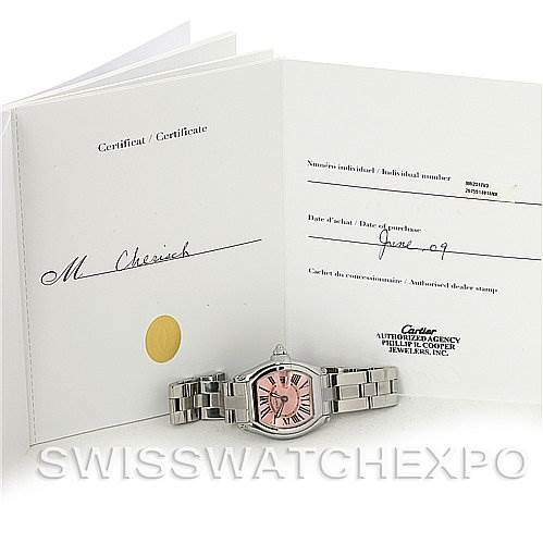 2808 Cartier  Roadster Ladies Pink Dial W62017V3 Extra Strap SwissWatchExpo