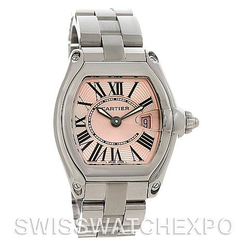 4054 Cartier Roadster Ladies Pink Dial Watch # W62017V3 SwissWatchExpo