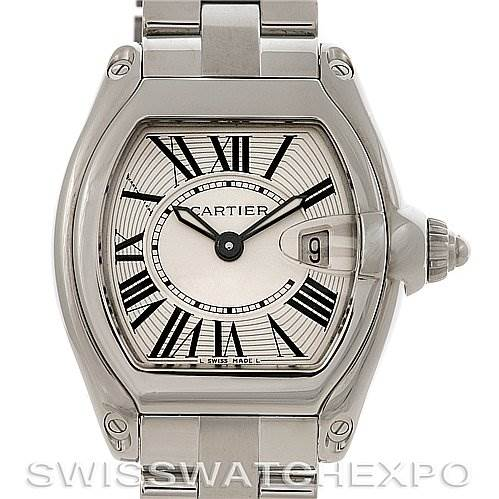4112 Cartier Roadster Ladies Stainless Steel Silver Dial Watch W62016V3 SwissWatchExpo