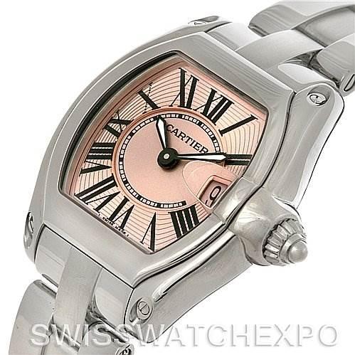 4218 Cartier Roadster Ladies Pink Dial Watch W62017V3 SwissWatchExpo