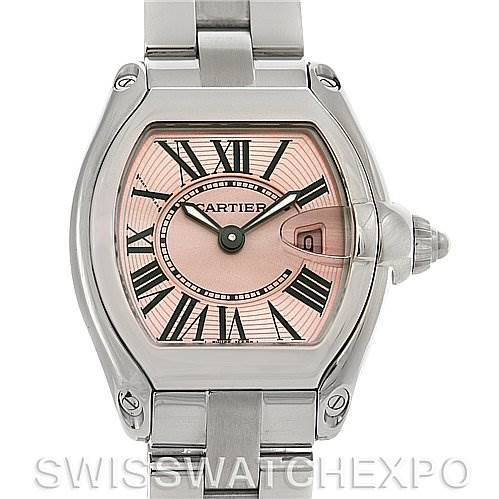 4218 Cartier Roadster Ladies Pink Dial Watch W62017V3 SwissWatchExpo