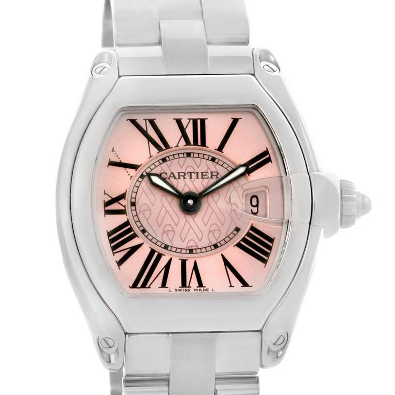 4327 Cartier Roadster Ladies Pink Dial Limited Edition Watch W62043V3 SwissWatchExpo
