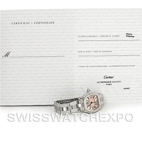 4394 Cartier Roadster Ladies Pink Dial Watch W62017V3 SwissWatchExpo