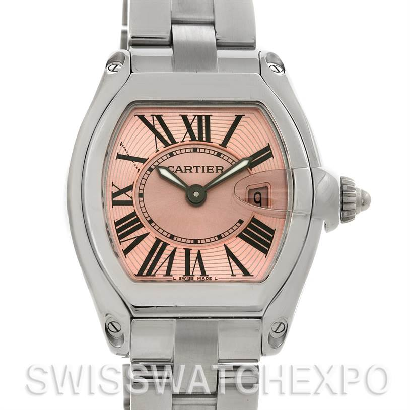 4442 Cartier Roadster Ladies Pink Dial Watch W62017V3 SwissWatchExpo