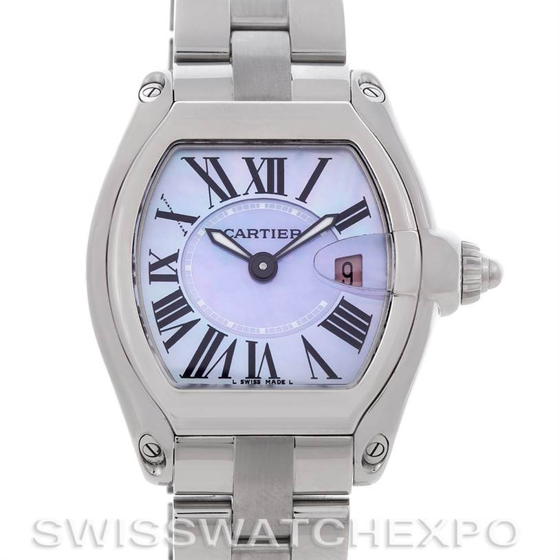 4550a Cartier Roadster Ladies Mother of Pearl Dial Steel Watch W6206007 NOS SwissWatchExpo