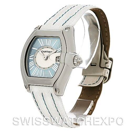 4551 Cartier Roadster Ladies Blue Dial Steel Watch W62053V3 NOS SwissWatchExpo