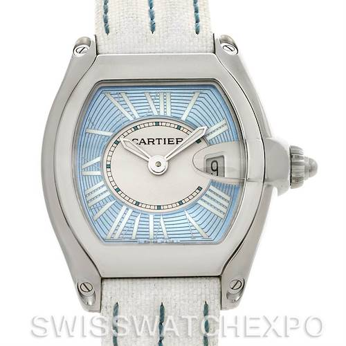 Photo of Cartier Roadster Ladies Blue Dial Steel Watch W62053V3 NOS